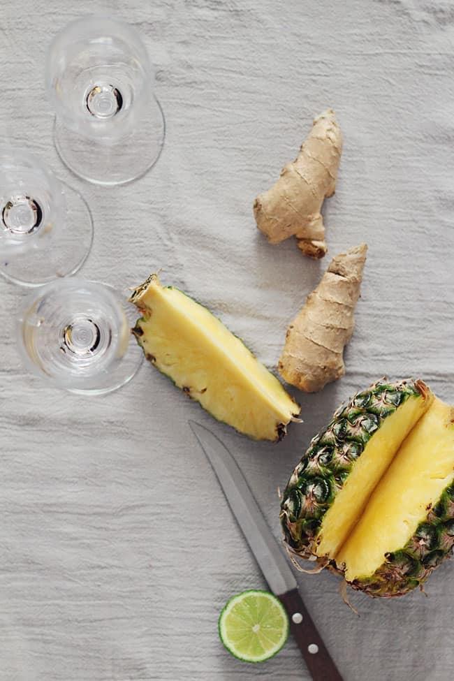 Fresh + Festive Pineapple Ginger Champagne Cocktail