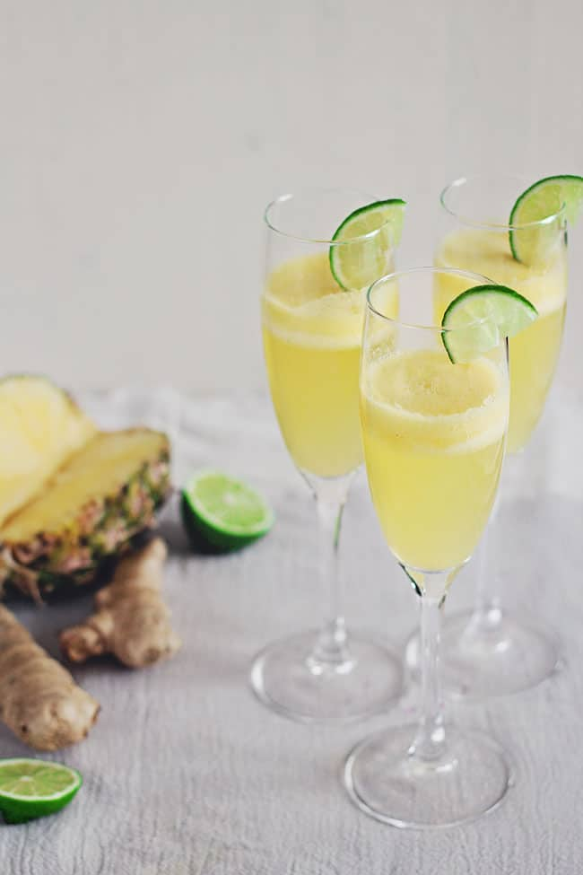 Pineapple Ginger Champagne Cocktail | HelloGlow.co