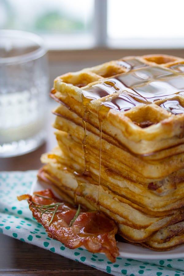 Overnight Bacon & Rosemary Yeasted Waffles
