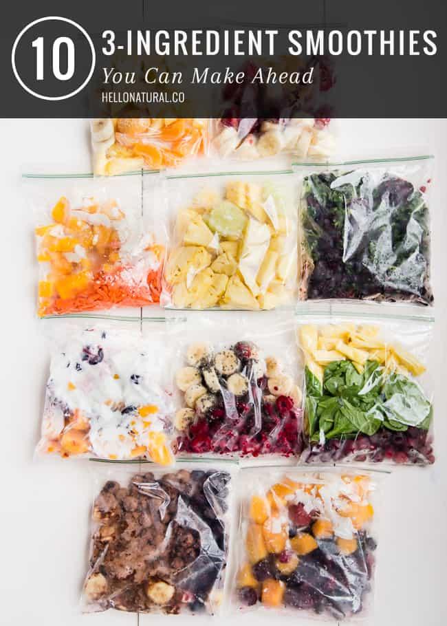 10 3-Ingredient Make Ahead Smoothie Packs | HelloGlow.co