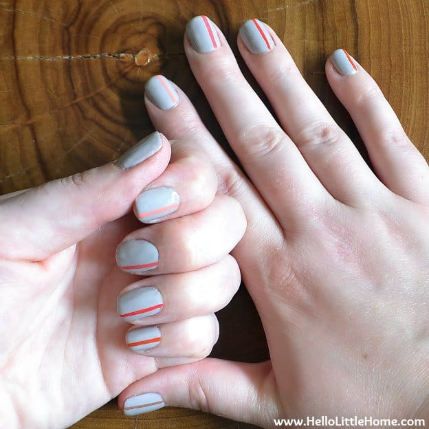 13 easy nail designs you can do with scotch tape hello glow easy striped nail art 2 prinsesfo Image collections