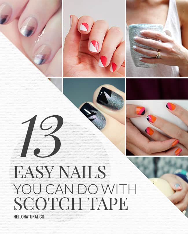 13 Easy Nail Designs You Can Do With Scotch Tape | HelloGlow.co - 13 Easy Nail Designs You Can Do With Scotch Tape Hello Glow