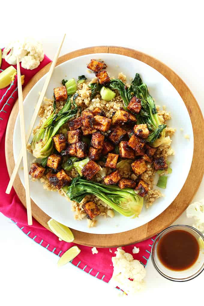 Crispy Peanut Tofu + Cauliflower Rice Stir Fry from The Minimalist Baker