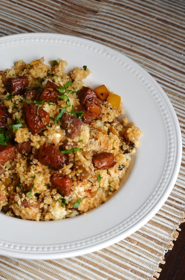 Cauliflower Dirty Rice with Andouille Sausage from Always Order Dessert