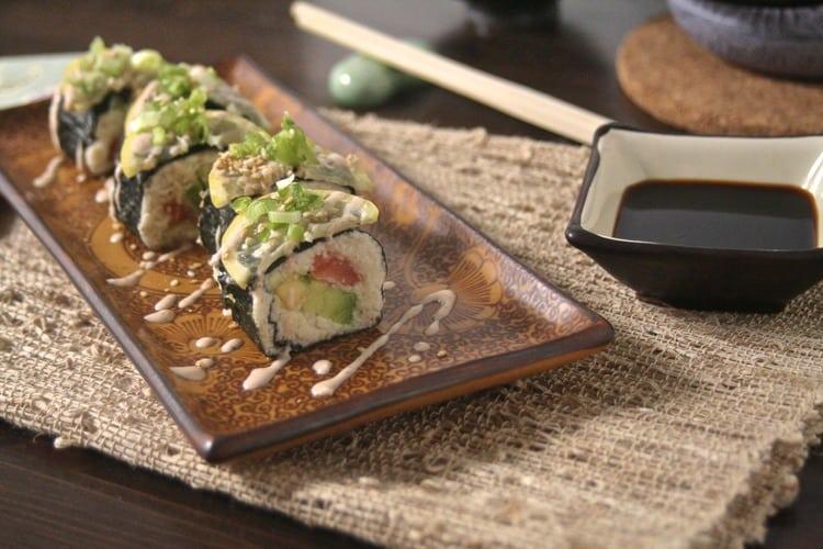 Sushi with Cauliflower Rice and Raw Mayo