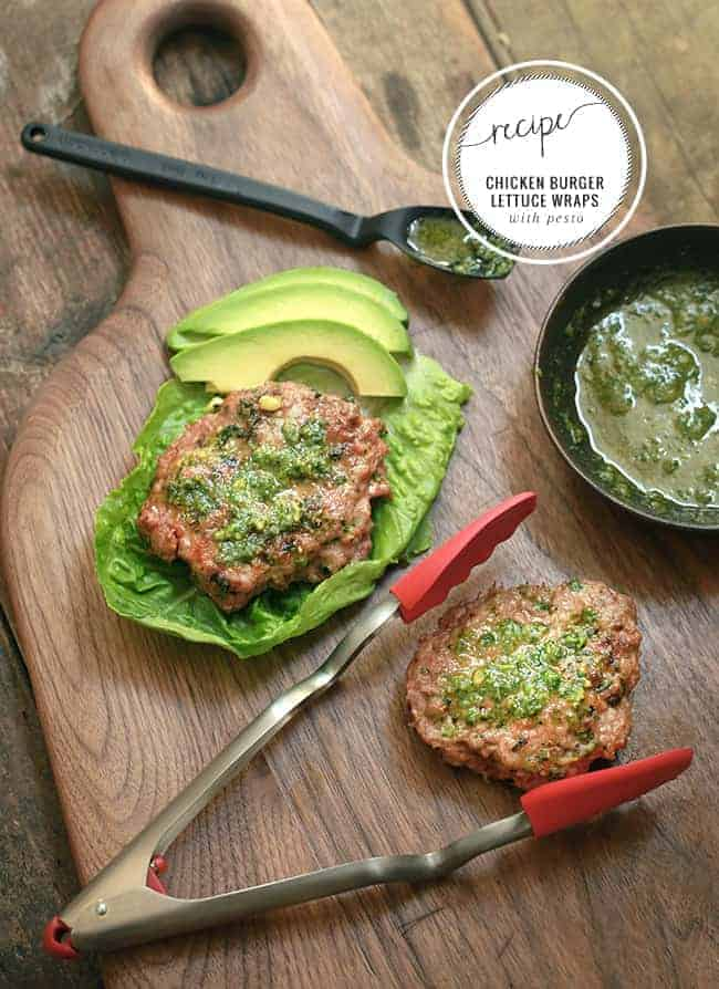 Chicken Burgers Lettuce Wraps With Pesto
