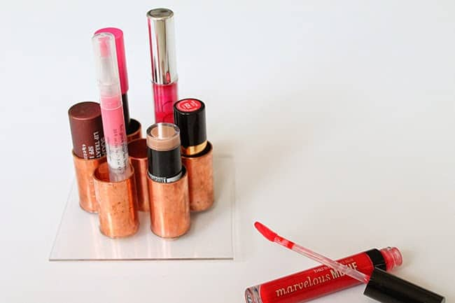 Lipstick holder | 15 Clever DIY Makeup Storage + Organization Ideas