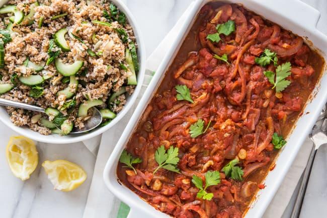 Tomato Baked Cod and Bulgur Tabbouleh