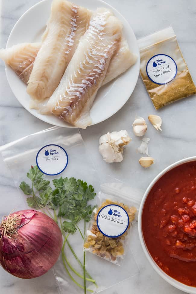 Tomato-Baked Cod with Bulgur Tabbouleh + Blue Apron Meal Delivery