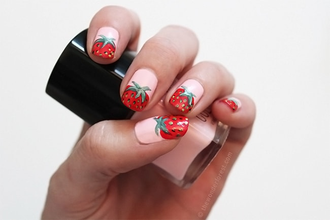 DIY Strawberry Nails   13 Ways to Wear Pink Nails