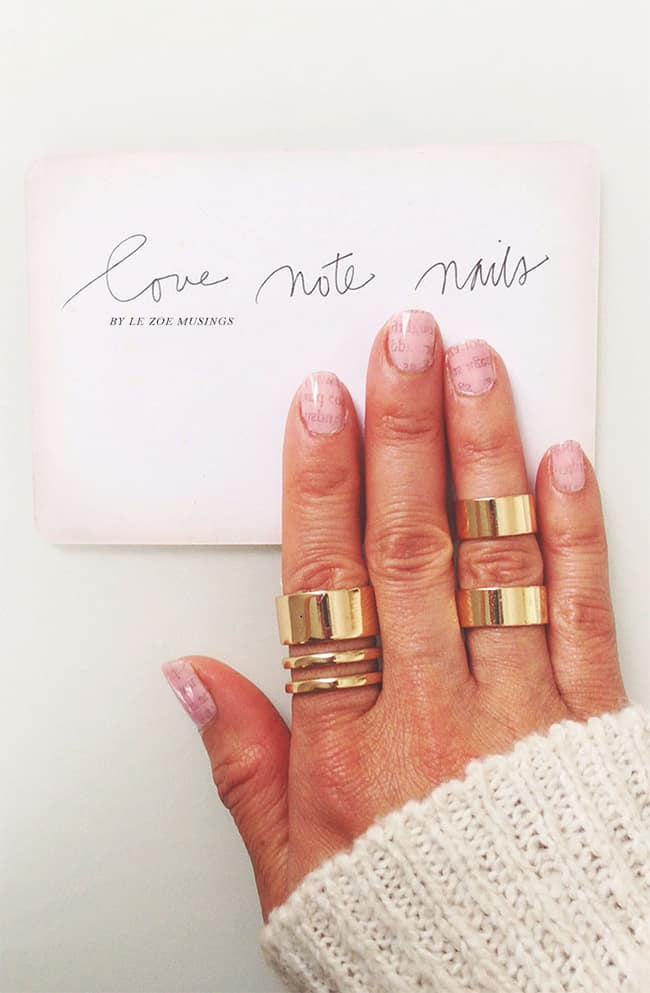 Pink Newspaper Nails   13 Ways to Wear Pink Nails