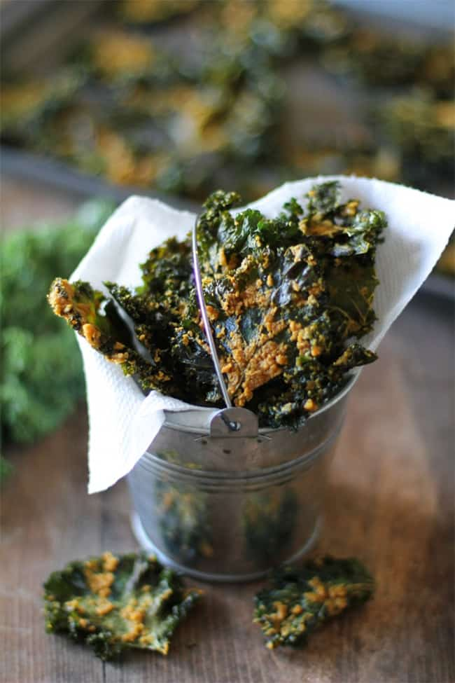Nacho cheese kale chips by The Roasted Root | 30 Healthy Chip Recipes