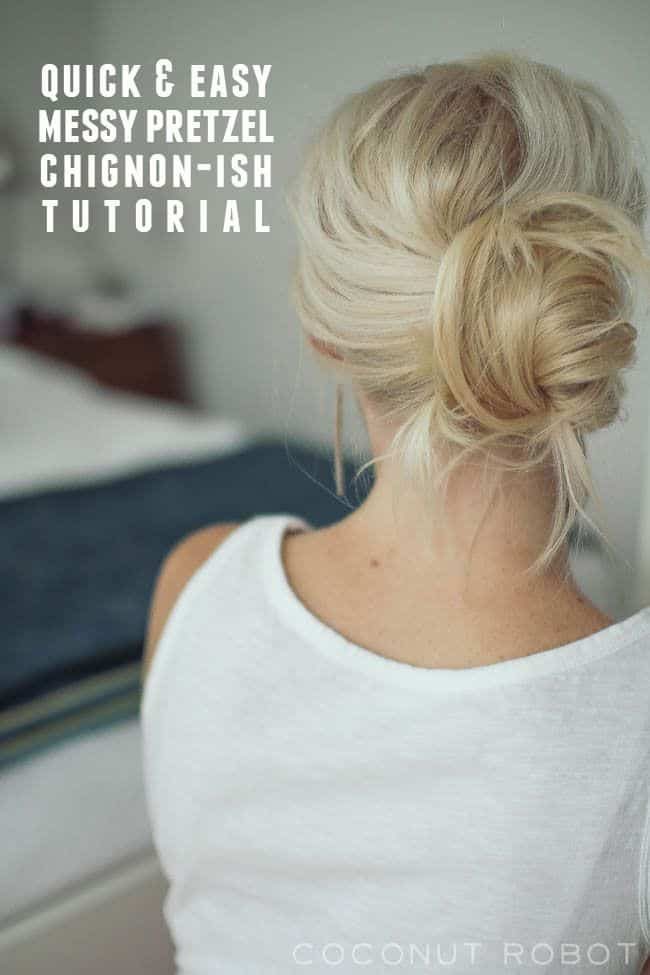 Messy pretzel chignon by Coconut Robot | 12 Bun Tutorials