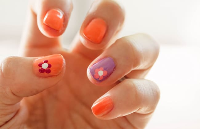 Coral lavender nail art by Cute & Little | 13 Flower Nail Tutorials