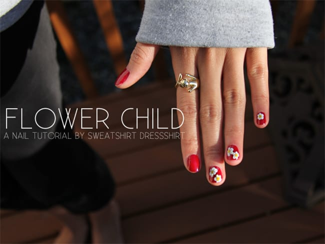 Flower child by Sweatshirt Dresshirt | 13 Flower Nail Tutorials