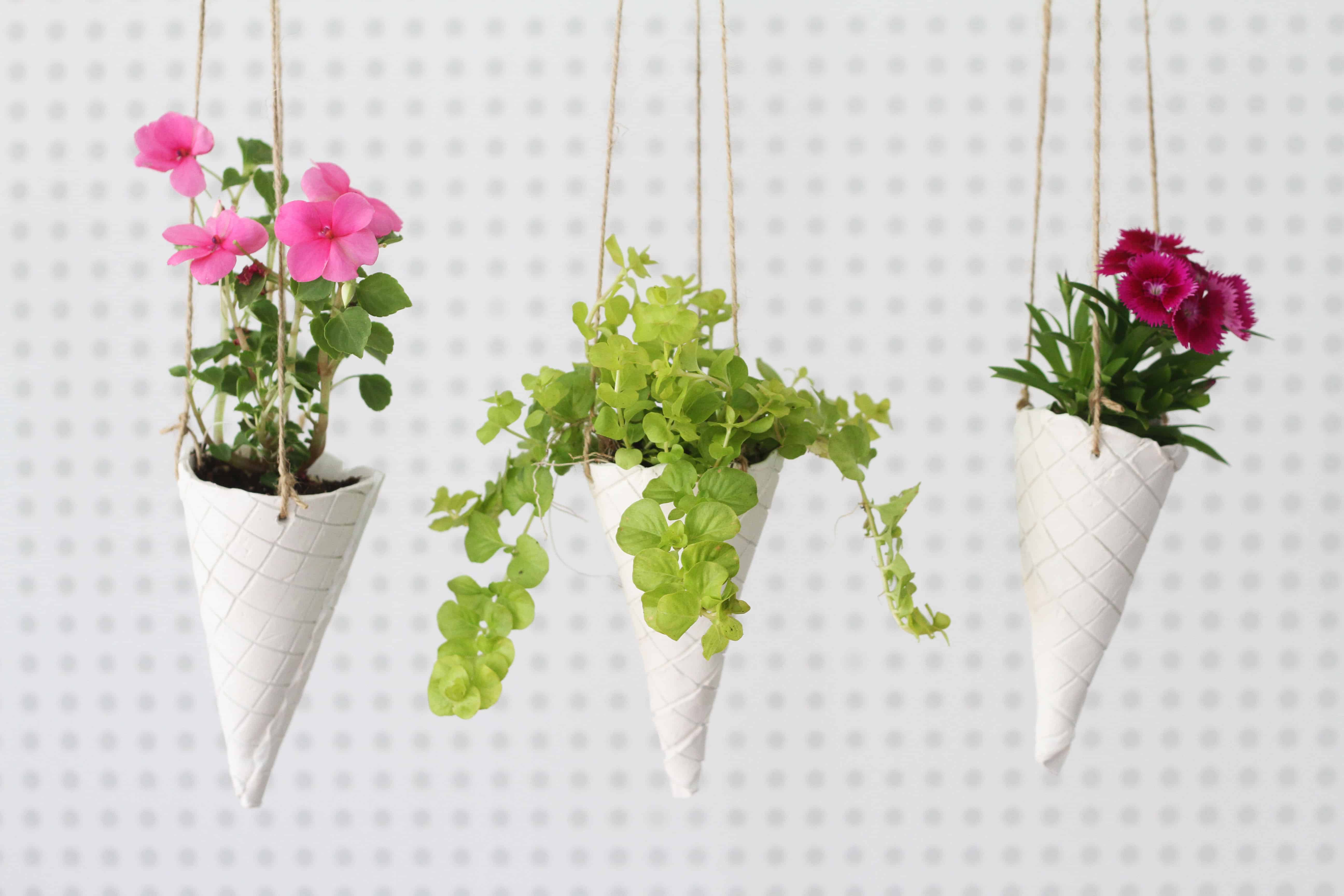 Waffle Cone Hanging Planter DIY