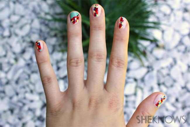 Rebecca Minkoff-inspired floral nails by She Knows | 13 Flower Nail Tutorials