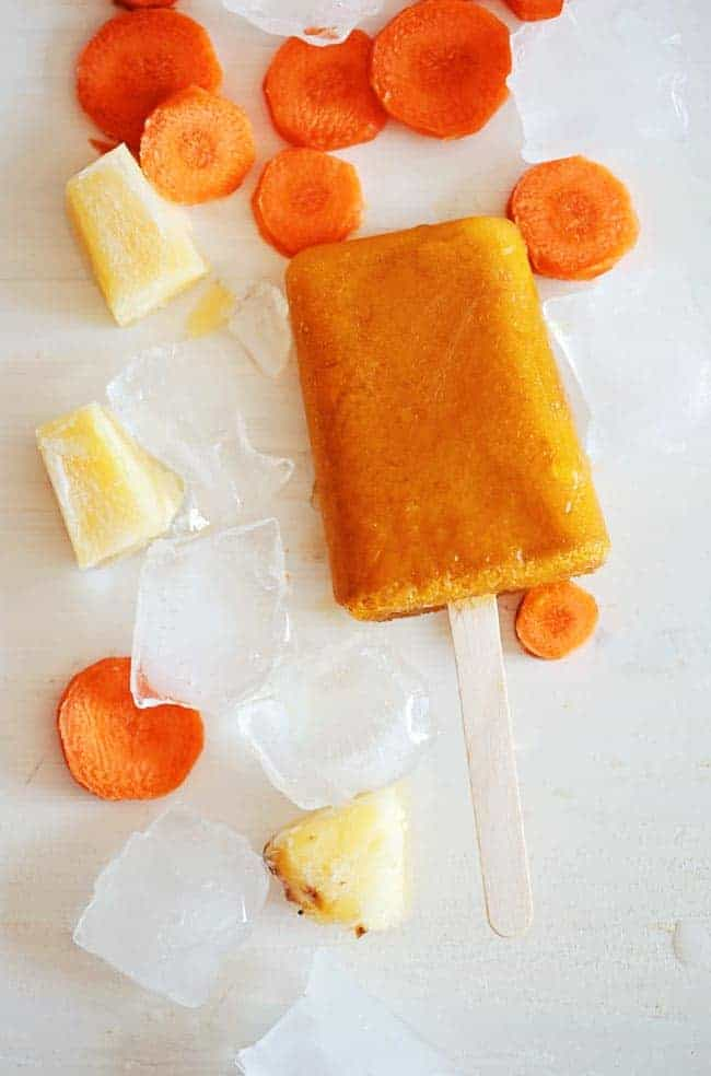 Tropical Pineapple Carrot Smoothie Popsicles