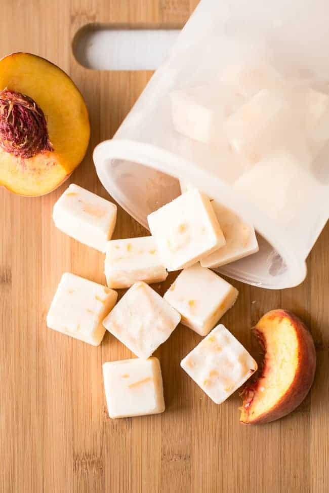 Peach Honey Frozen Yogurt Bites