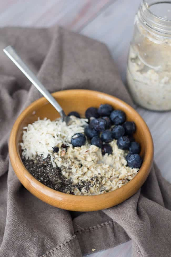 Overnight Blueberry Coconut Muesli