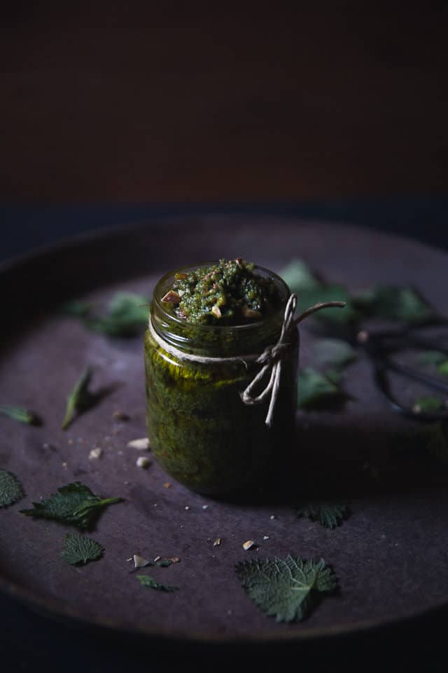 Nettle & almond pesto by Cashew Kitchen