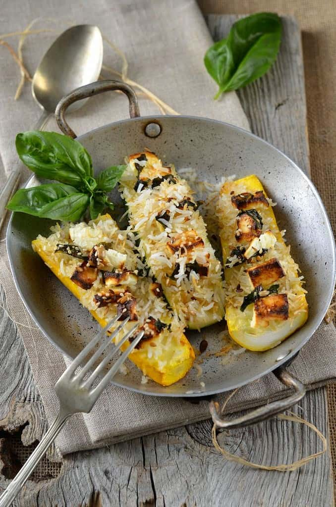 Zucchini stuffed with rice and feta by Tangerine Zest