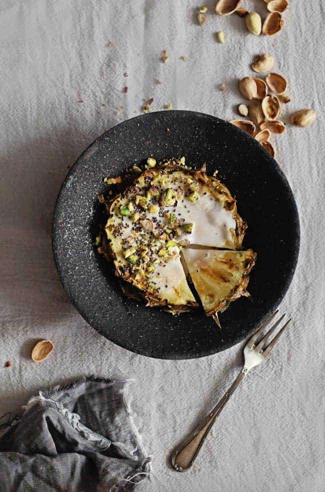 Grilled Pineapple with Coconut Whipped Cream + Toasted Pistachios