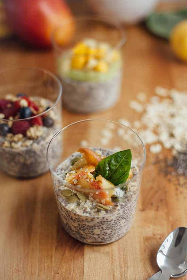 Basil Stone Fruit Overnight Oats | 3 Overnight Oats Recipes with Chia Seeds