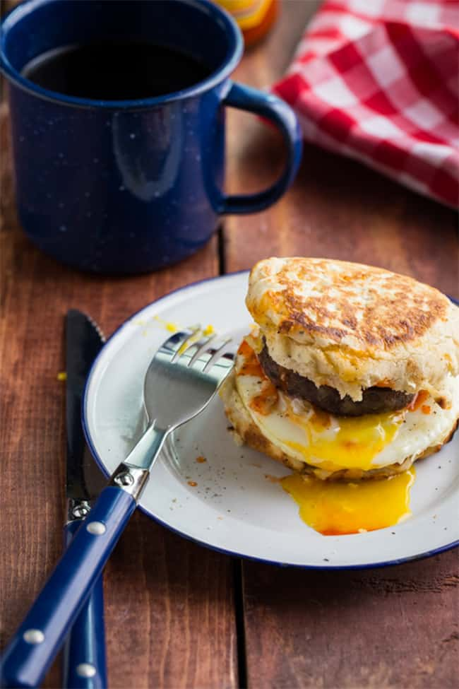 Campfire breakfast burger recipe by Jelly Toast Blog