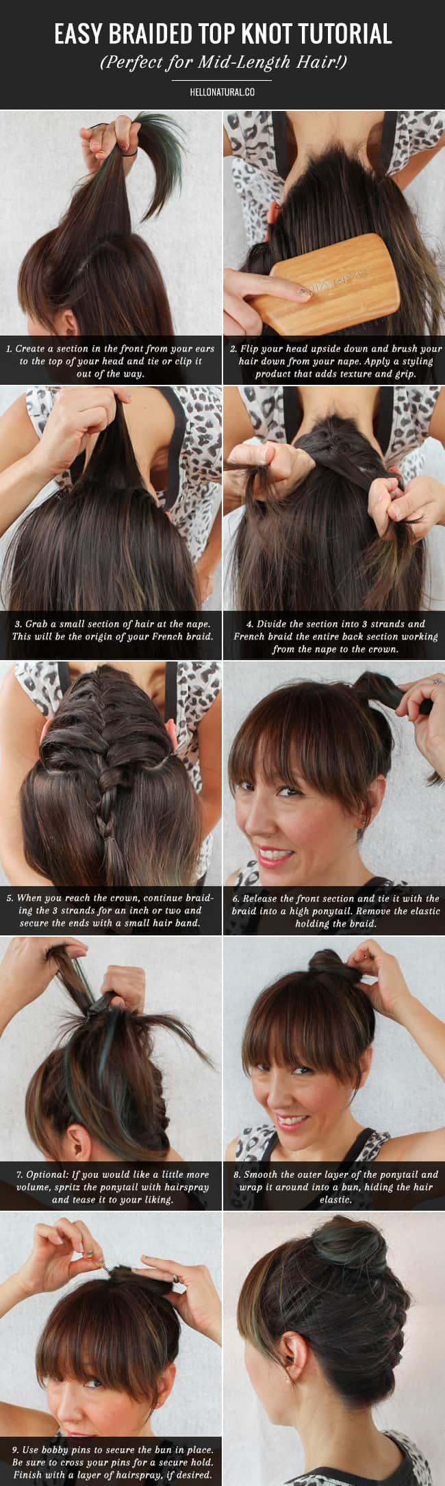 Easy Braided Top Knot Tutorial