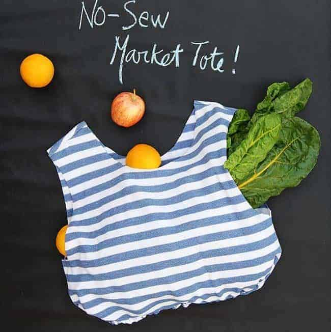 Recycle Your T-Shirt into a No-Sew Reusable Grocery Bag