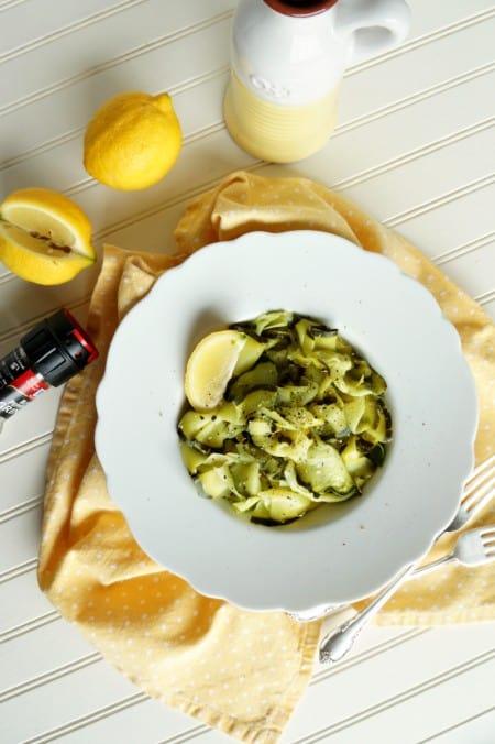 Lemon-garlic zucchini ribbons by The Baking Fairy