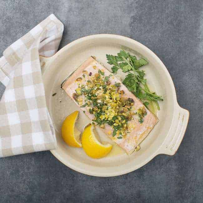 Lemon-Pistachio Salmon with Parsley from Hello Glow