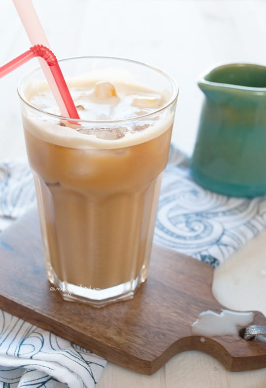 Iced coconut and almond milk latte by In My Red Kitchen