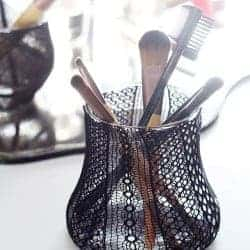 Pretty Up Your Vanity with a Recycled DIY Makeup Brush Holder