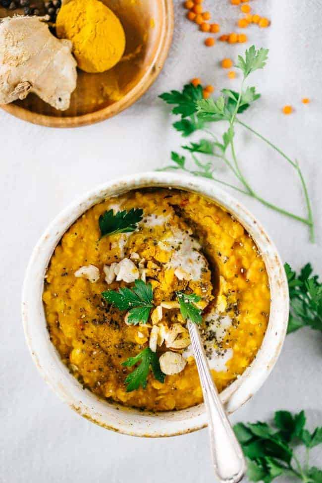 Healing Red Lentil Dhal with Turmeric