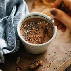 Hormone-Balancing Hot Chocolate with Cacao, Chia + Maca