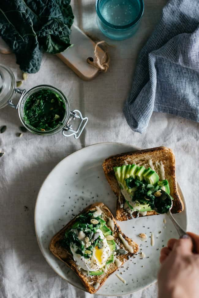 Superfood Egg + Avocado Toast with Kale Tapenade