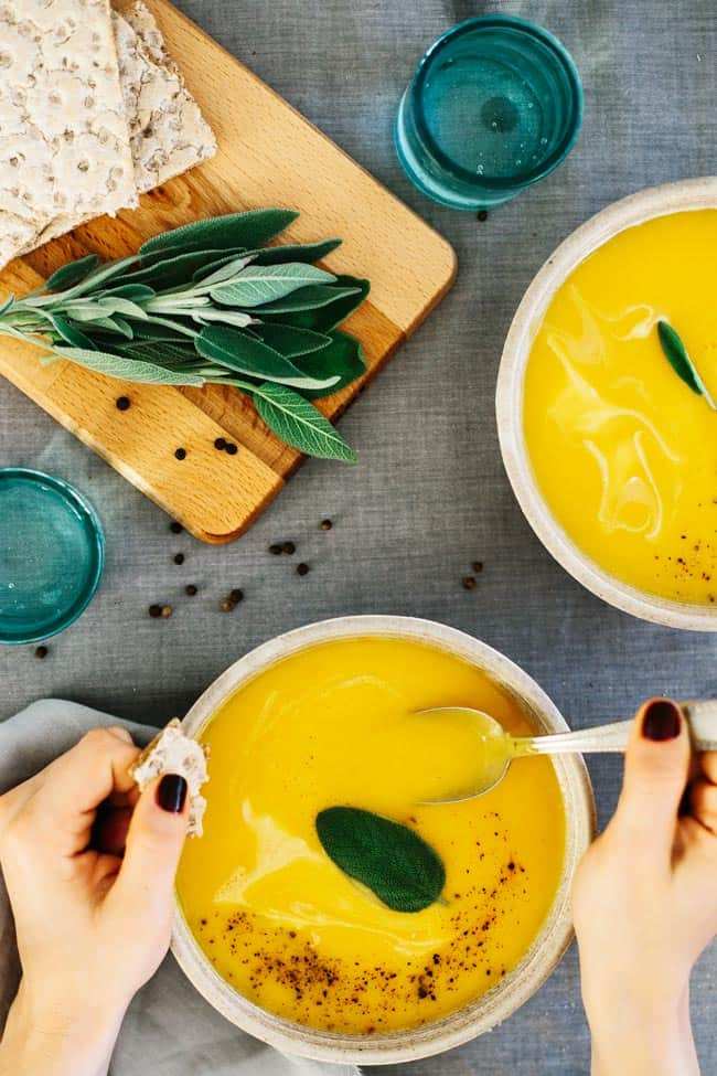 Butternut Squash + Pumpkin Soup with Sage