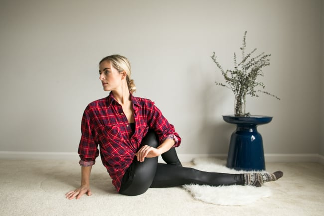 Seated Torso Twist   7 Back + Hip Stretches Perfect Before Bed