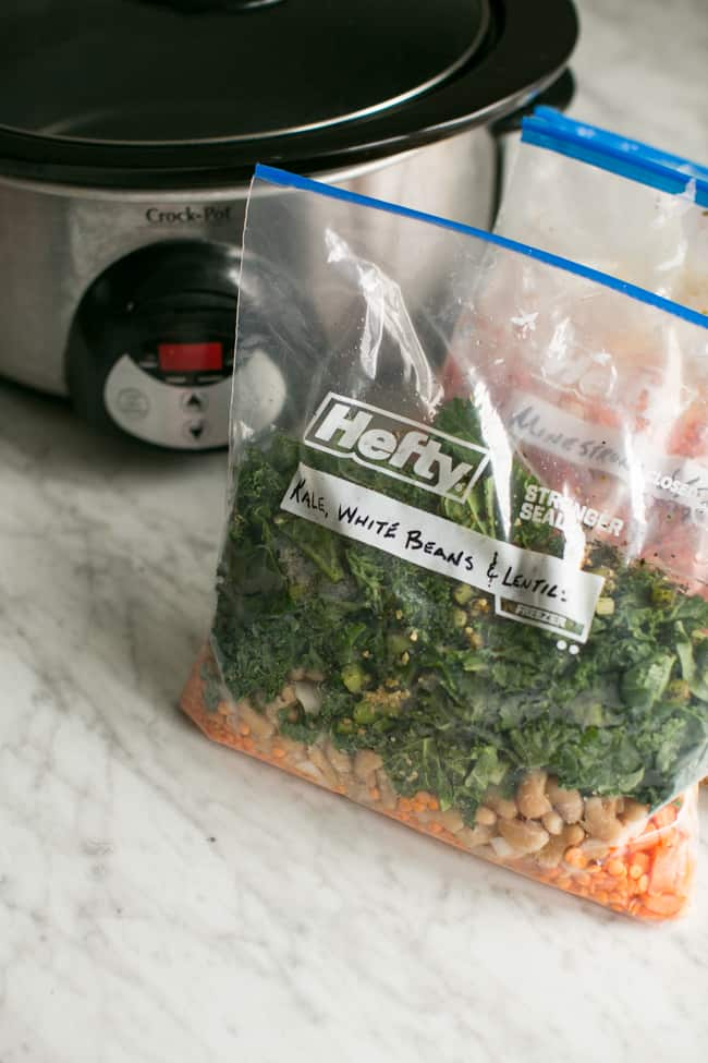 Kale, White Beans & Lentil | 20 Make-Ahead Slow Cooker Freezer Meals - Hello Glow