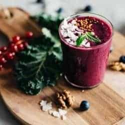 A Healthy Hair Smoothie with Blueberry + Kale