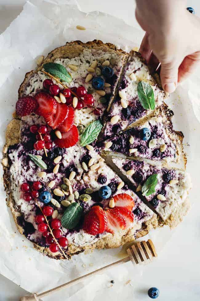 Berry Breakfast Pizza with Chickpea Crust