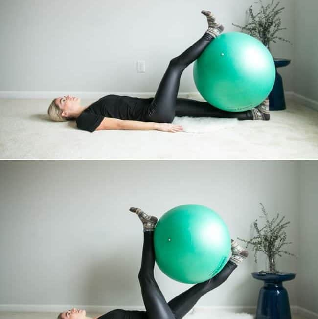 Physio Ball Scissor Leg Raises