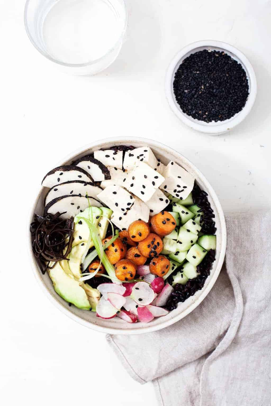Tofu Poke Bowl With Sesame Glazed Carrots