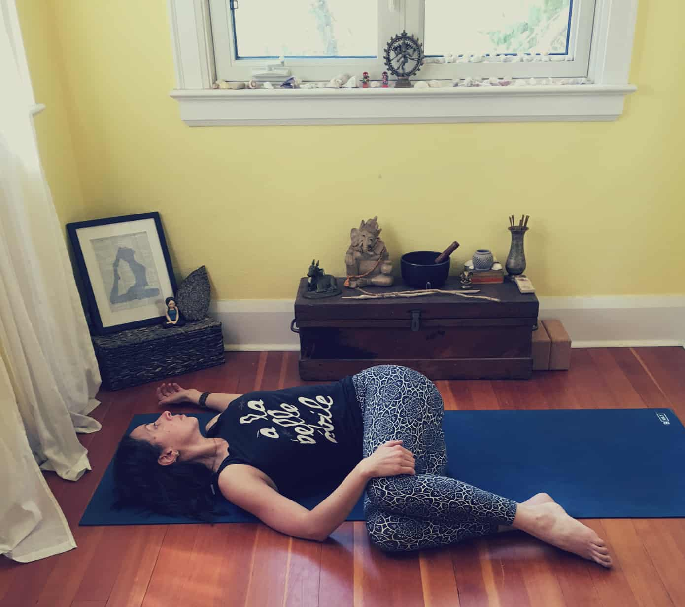 Yoga Poses for Digestion - Reclined Twist