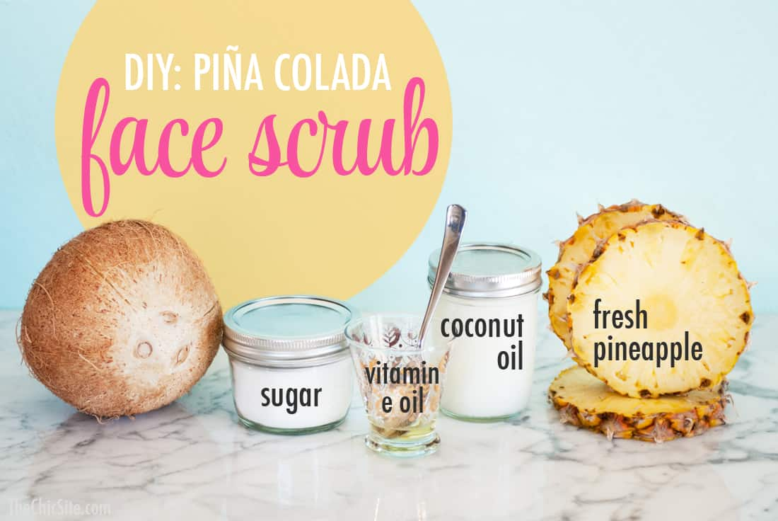 Pina colada face scrub by The Chic Site | 10 Pineapple Beauty Recipes