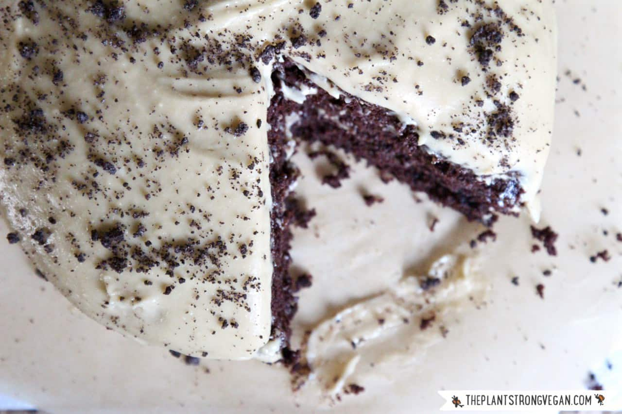 "Gluten-free Chocolate Cake + ""Cheesecake"" Frosting and Cookie Crumble, by the Plant Philosophy 