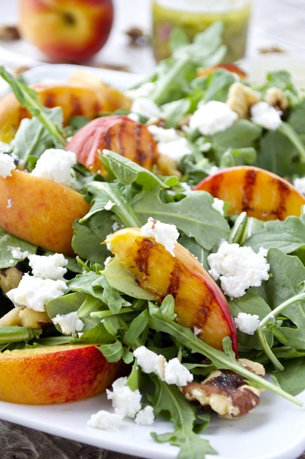 Grilled Peach and Arugula Salad from Fashionable Foods