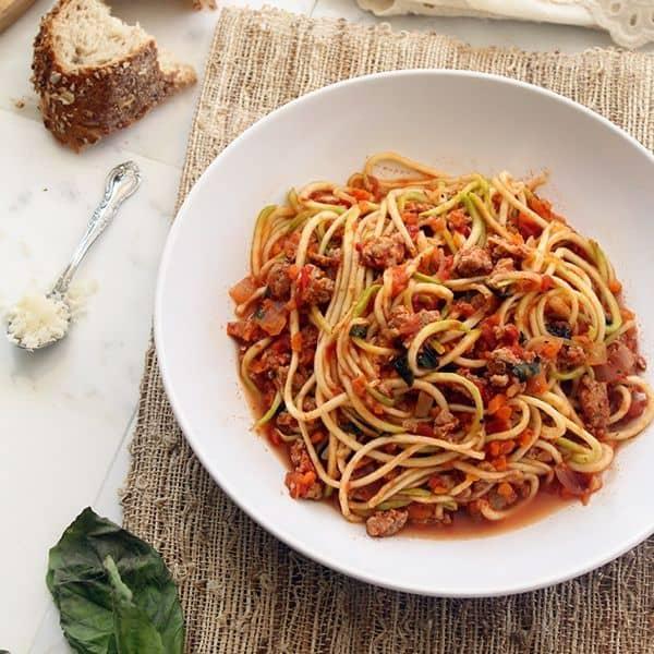 Turkey Bolognese Zucchini Pasta